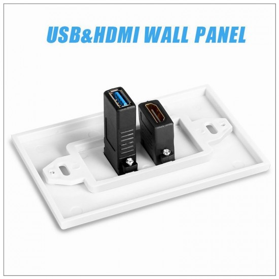 HDMI USB 3.0 Audio Stereo Pass Through Component Composite Wall Plate Panel