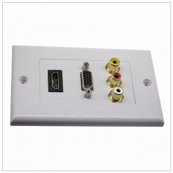 HDMI VGA 3RCA Audio Stereo Pass Through Component Composite Wall Plate Panel
