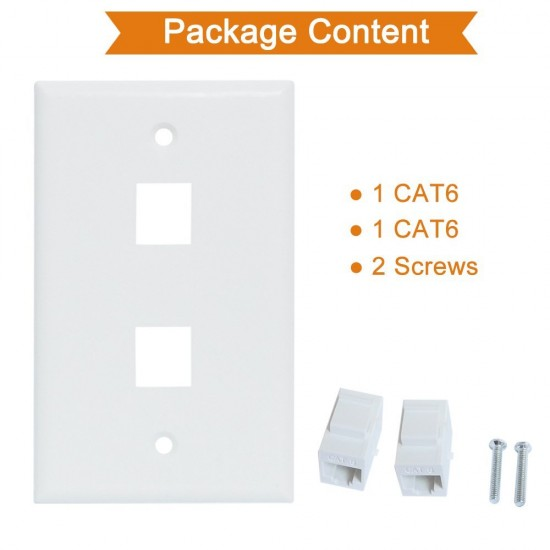 Ethernet Wall Plate 2 Port Cat6 Ethernet Cable Wall Plate Adapter