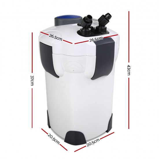 Aquarium External Canister Filter Aqua Fish Tank UV Light with Media Kit 1850L/H