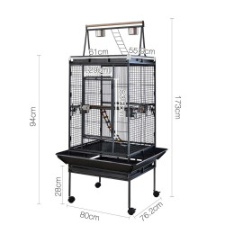 i.Pet Pet Bird Cage with Perch - Black