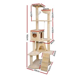 i.Pet Cat Scratching Tree Post Sisal Pole 193cm Beige