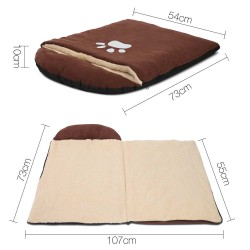 i.Pet Fleece Pet Sleeping Bag - Brown