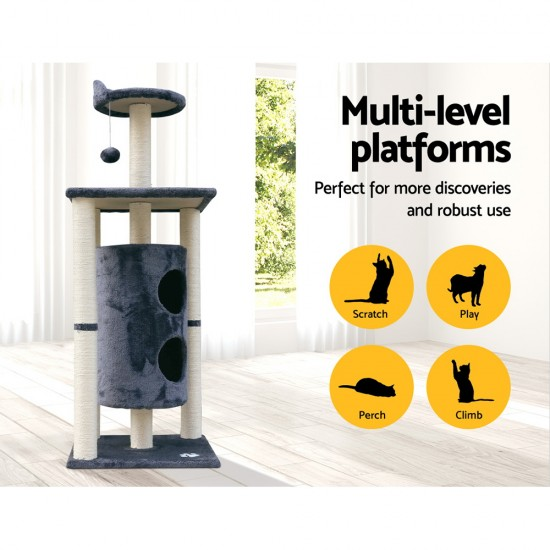 i.Pet 123cm Multi Level Cat Scratching Post - Grey