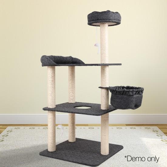 i.Pet 132cm Multi Level Cat Scratching Tree Post - Grey