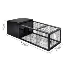 i.Pet Medium Metal Rabbit Hutch - Black