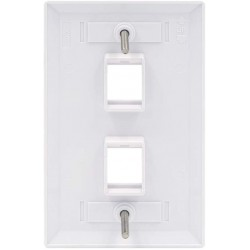 2 Port QuickPort outlet Wall Plate face plate, two Gang White