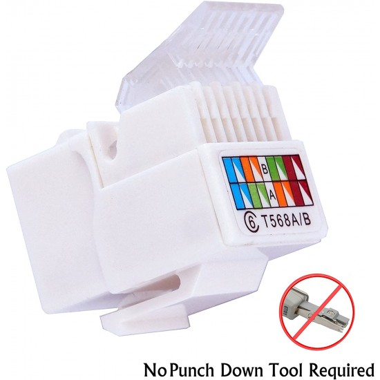 CAT6 RJ45 Keystone Jack Ethernet Cable Patch Panel Wall Plate No Tool Required