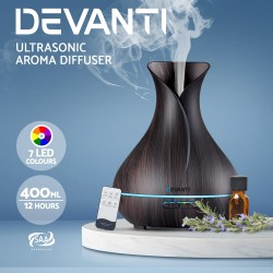 400ml 4 in 1 Aroma Diffuser with remote control- Dark Wood