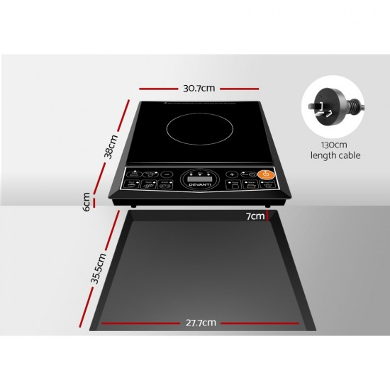Portable Single Ceramic Electric Induction Cook Top - Black