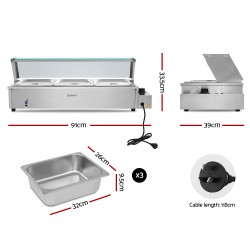 Commercial Food Warmer Bain Marie Electric Buffet Pan Stainless Steel