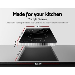 Electric Ceramic Cooktop 30cm Kitchen Cooker Cook Top Hob Touch Control 3-Zones