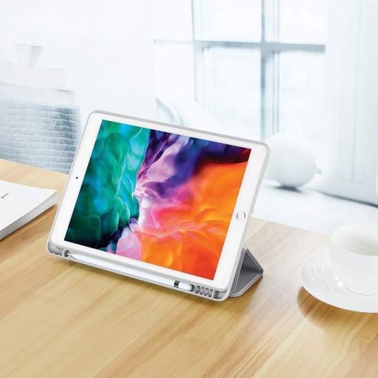 IPad 10.2 2019 7th Pencil Holder Slim Smart TPU Soft Case Grey