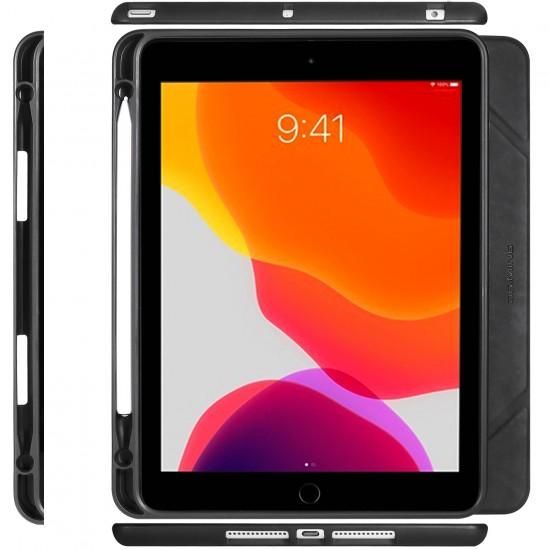 IPad 10.2 2019 7th Pencil Holder Slim Smart TPU PU leather Soft Edge Case Black