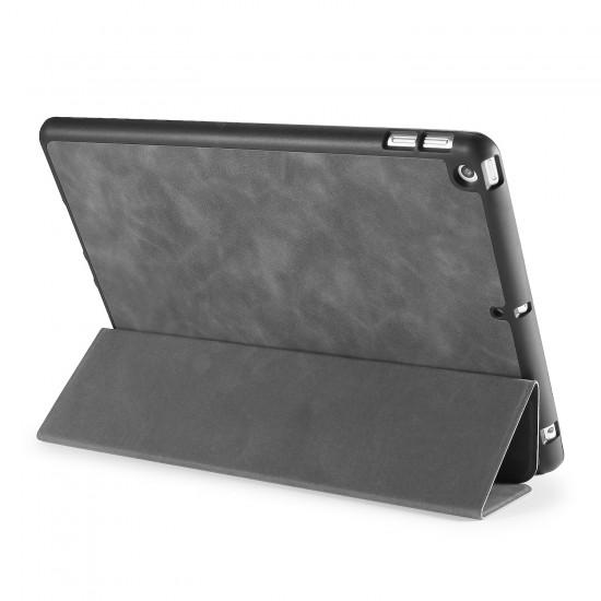 IPad 10.2 2019 7th Pencil Holder Slim Smart TPU PU leather Soft Edge Case Grey