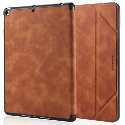 IPad 10.2 2019 7th Pencil Holder Slim Smart TPU PU leather Soft Edge Case Brown