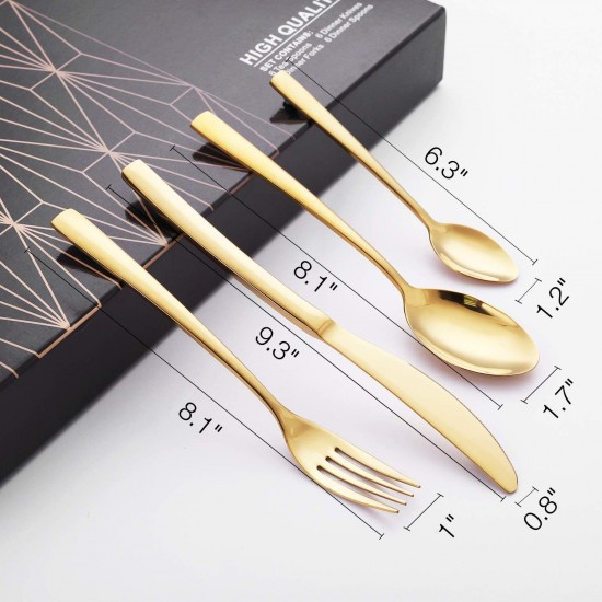 24-Piece Stainless Steel Gold Set, Knife Fork Spoon Flatware Set Cutlery Set, Mirror Finish