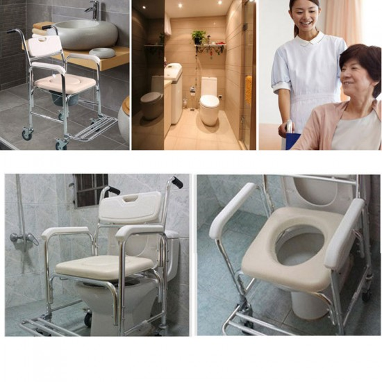 3-in-1 Mobile Rolling Chair Wheelchair Commode Bedside Toilet Chair Shower Chair