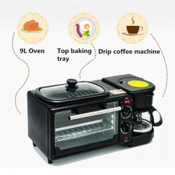 Electric 3 in 1 Breakfast Making Machine Multifunction Coffee Maker Bread Pizza