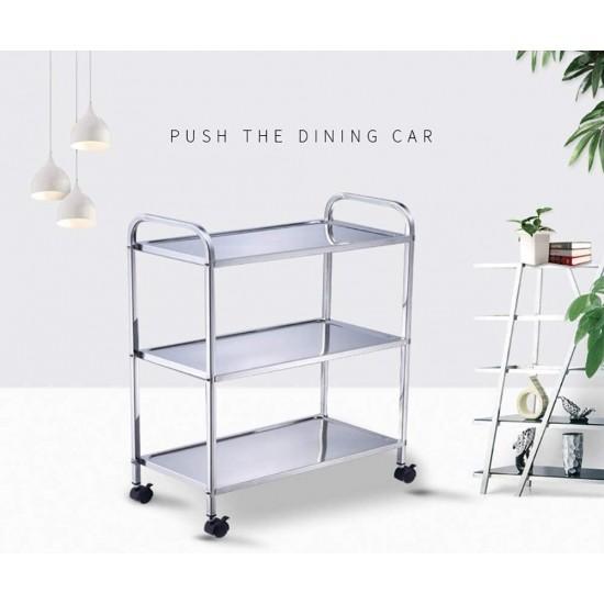 3Tier Stainless Steel Household Restaurant Cart Hand Trolley Wit Brake Wheel