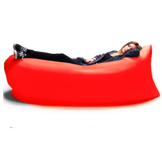 Inflatable Chair Portable Air Couch, Air Sofa Bag Lounge Red