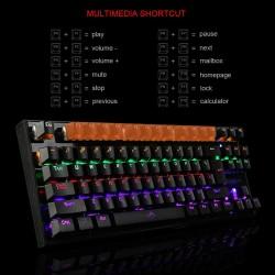 Mechanical Gaming Keyboard Green Switches 87 Keys LED Backlight PC and Laptop