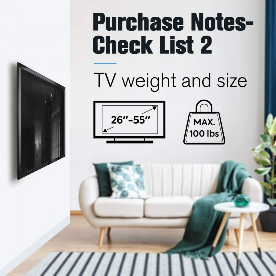 26-55 Inch Fixed TV Wall Mount Bracket TV Bracket Wall Mount up to 50KG