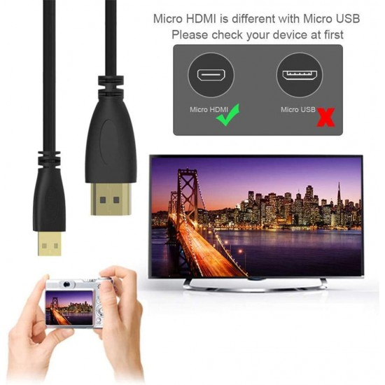 1.5M Micro HDMI to HDMI Adaptor Cable 1080P TV AV Adapter Audio Video Converter