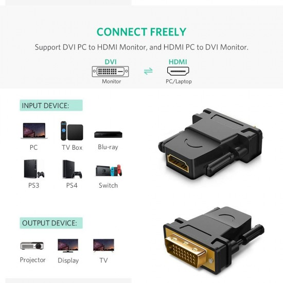 DVI-D 24+1 Male to HDMI Female Adapter Converter Gold Plated Support 1080P