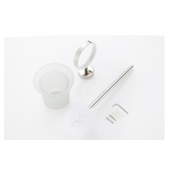 Toilet Brush Holder Wall Mount Rustproof Frosted Glass for Bathroom