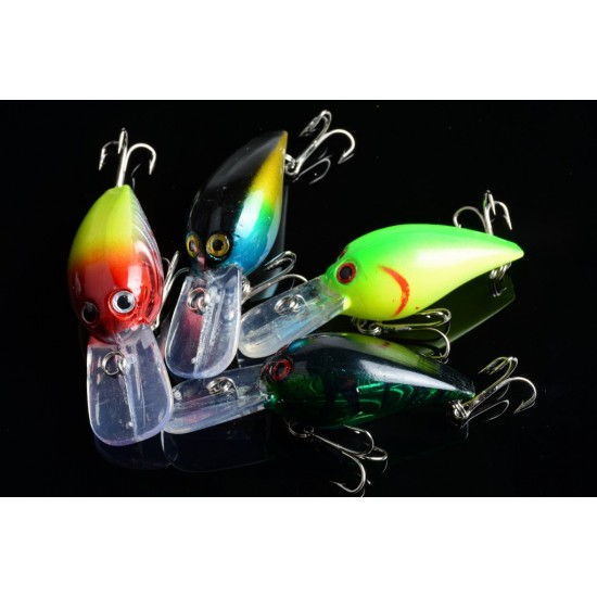 4x 7.3cm Popper Crank Bait Fishing Lure Lures Surface Tackle Saltwater
