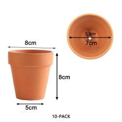 10x 8cm Flower Pot Pots Clay Ceramic Plant Drain Hole Succulent Cactus Nursery Planter