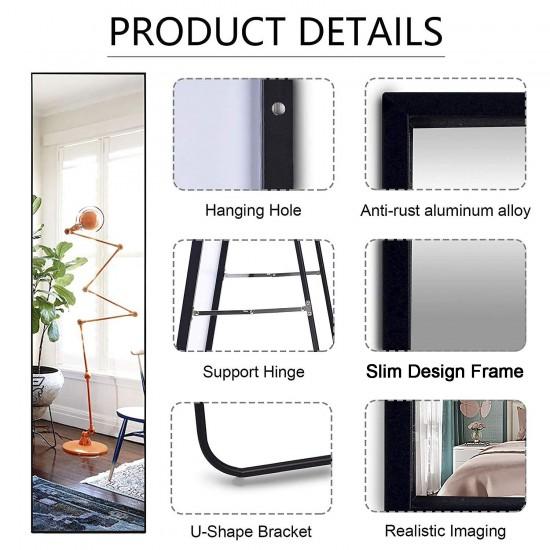 Aluminum Framed Slim Design Full Body Mirror Wall Mounted Bedroom Living Make Up