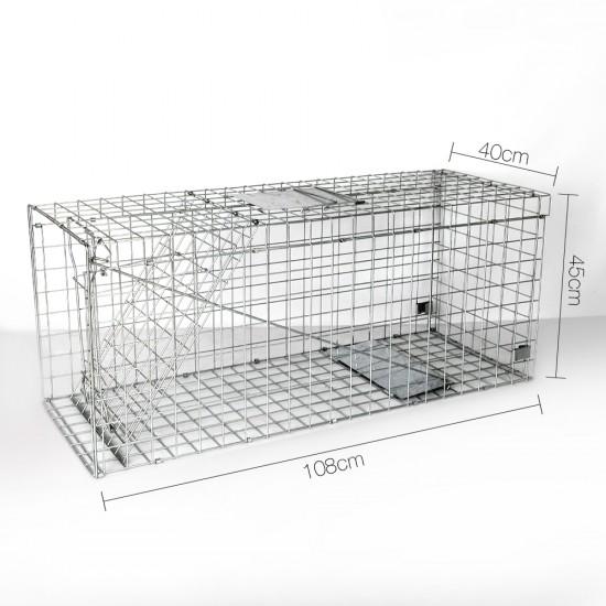 Humane Animal Trap Cage 108 x 40 x 45cm  - Silver