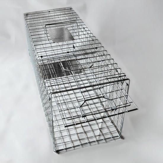 Humane Animal Trap Cage 94 x 34 x 36cm  - Silver