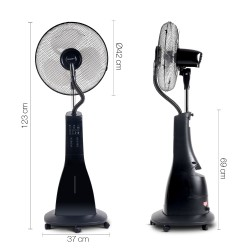 Portable Misting Fan with Remote Control - Black