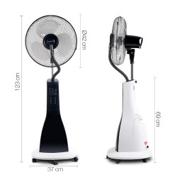 Portable Misting Fan with Remote Control - White