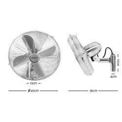 """40cm 16"""" Wall Mountable Fan - Silver"""