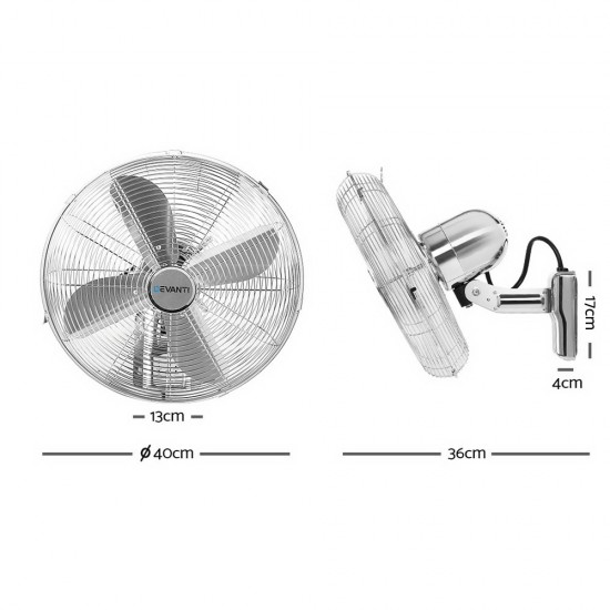 "40cm 16"" Wall Mountable Fan - Silver"