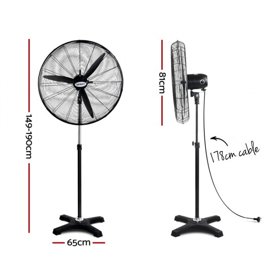 Adjustable Industrial Standing Fan - Black