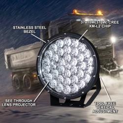 Pair 9inch 370w LED Driving Light Cree Black Round Spotlight BAR Offroad 4x4
