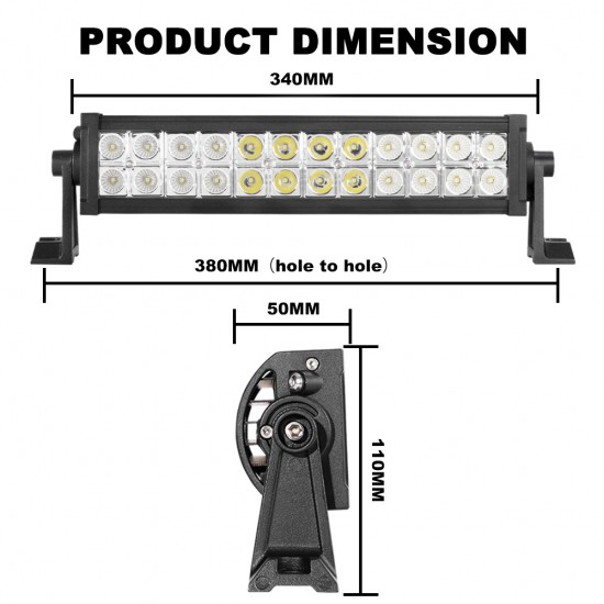 Pair 12inch 72w CREE LED Light Bar Offroad Spot Flood Work Driving Truck 4WD SUV
