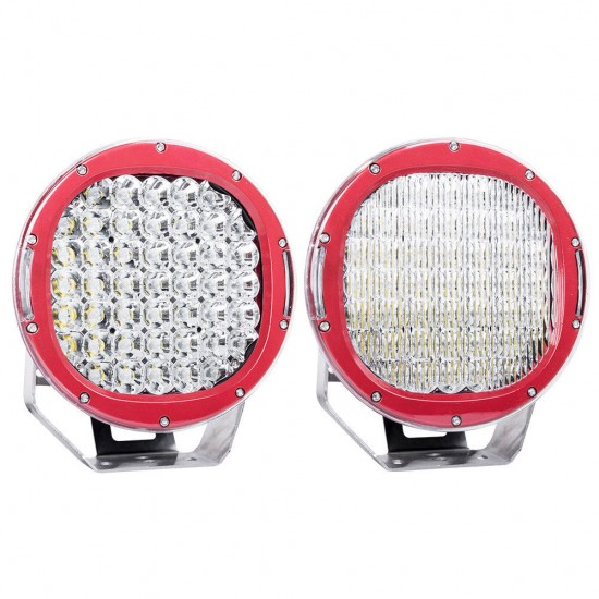 9inch 225W CREE LED Spot LED Driving Lights Offroad Round Spotlights RED