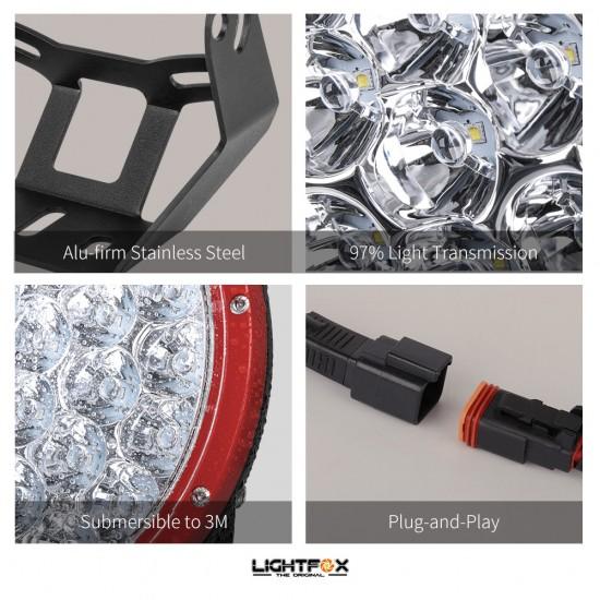 2x 7inch 280w LED Driving Light Red Spotlight Lightfox EX Series