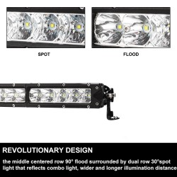 23INCH Osram Slim LED Work Light Bar Spot Flood Combo 4WD 22/20 Single Row 4x4