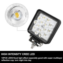 2x Square CREE LED Work Light Lamp Flood 4WD Offroad Tractor Truck SUV 12V 24V