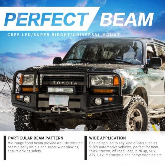 2x12inch CREE LED Work Light Bar Spot Flood OffRoad Fog Driving 4WD 4x4 Reverse