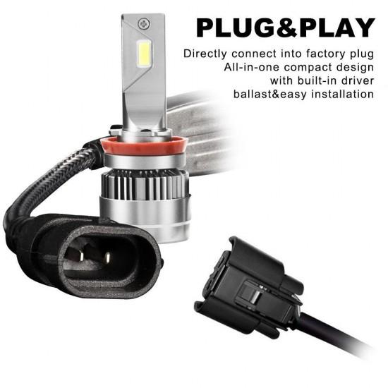 2 x LED Headlight Kit Driving Lamp CSP H11 High Low Beam Canbus