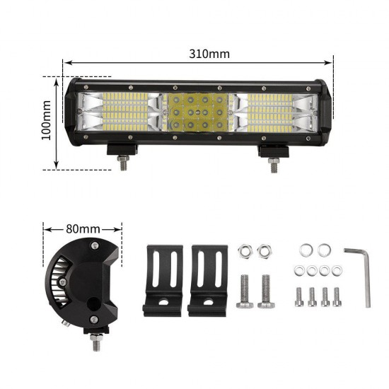 12Inch LED Light Bar Work Driving Triple Row Combo Beam Offroad 4WD Truck