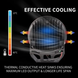 Pair 9inch 370w LED Driving Light Black Spotlight Lightfox EX Series